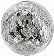 2015 3oz Pave Crystal Giant Panda Silver Coin Set Rwanda 1,000 Francs