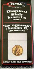 1 Pack of 25 BCW Brand Sacagwea Coin Display Slab Foam Inserts in White only