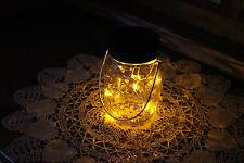 Solar Mason Jar Lid 10 LED Mason Jar Lights, Yellow Fairy Light, Black Ring