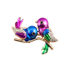 New Fashion Purple Lucky Two Lovers Birds Pin Brooch