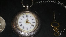 Sterling Silver,Antique,Swiss Made, Hallmarked, Ladies fob watch Pocketwatch key