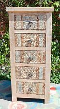Carved Shabby Chic French Country Tallboy Chest of Drawers Storage Hamptons