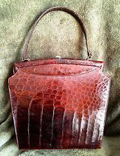 Vintage 100% HANDMADE BROWN ALLIGATOR BELLY SKIN HAND BAG/PURSE WITH FEET