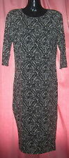 River Island ladies black & white knee length 3/4 sleeve dress UK Size 8