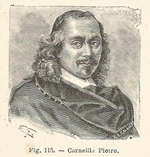 B1762 Pierre Corneille - Incisione antica del 1925 - Engraving