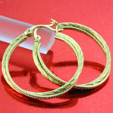 FS653 GENUINE REAL 18K YELLOW G/F GOLD SOLID CLASSIC ANTIQUE TWIST HOOP EARRINGS