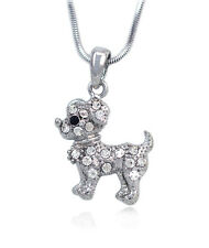Baby Dog Doggy Pet Pendant Necklace Clear Rhinestones Girl Jewelry Gift