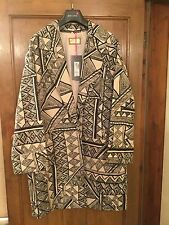 Marks And Spencer Per Una Coat/Jacket Size Medium Size 16 RRp £99 Cream Aztec
