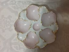 1872-1907 Beautiful Lg Oyster Plate by T&V Limoges Fr; White/Pink/Gilt Trim