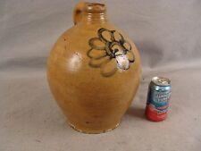 Antique Ca. 1810 Ovoid  Blue Slip Flower 2 Gallon Reeded Neck Stoneware Jug