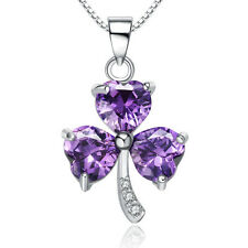 Fashion Purple Crystal 925 Sterling Silver Pendant Necklace Women's Jewelry