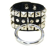 "Bondage Bracelet Studded with Large 2"" Silver Ring Premium Leather"