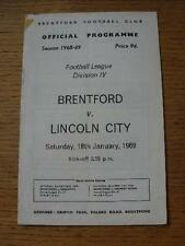 18/01/1969 Brentford v Lincoln City  (Adhesive Mark In Corner). No obvious fault