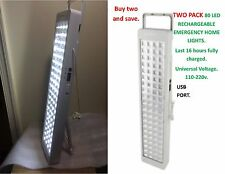 2 SETS. 80 LED  Rechargeable Emergency Home Lights. 110-240v. USE. USB Port.