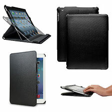New Carbon Fiber Smart Case Cover Folio for Apple iPad 2nd 3rd and 4th Gen Black