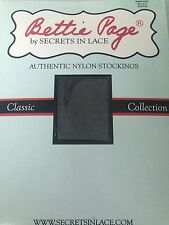 Bettie Page Inspired Authentic Nylon Stockings-RHT Black-Size Long