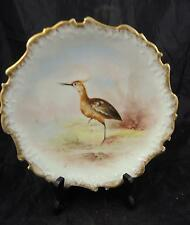 Antique Hand Painted Limoges Plate - Shore Bird * Lighthouse * Sail Boats