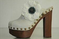 NEW AUTH CHANEL Beige Ivory Dark White CLOGS Clog  SHOES Brooch Flower  40 9.5