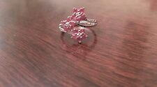 STERLING SILVER FLOWER DESIGN 3/4 CT NATURAL RUBY & DIAMOND RING  - SIZE 7