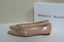 New  sz 7 / 37 Manolo Blahnik BB Jabi Nude Patent Leather Pointed Toe Flat Shoes