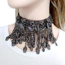 Vintage Style Skull Tassel Black Rhinestone Crystal Choker Statement Necklace