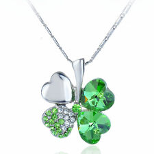 Women's Green Clover Leaf Crystal Pendant Chain Necklace With Gift Box