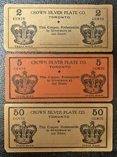 Vintage CROWN SILVER PLATE CO. TORONTO COUPONS-Lot of 3 Redeemable in Silverware