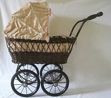 Vintage Rattan Wicker Metal Wooden Handle Baby Buggy Pram Push Doll Carriage TD
