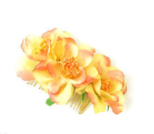 Orange Yellow Ombre Gold Rose Flower Hair Comb Bridesmaid Rockabilly 1950s 265