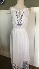 J CREW LINEN DRESS WITH EYELET DETAIL NWT 2 #F3359 IN WHITE