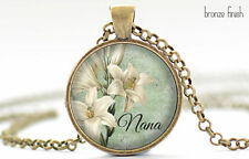White Lily Nana Necklace, Mother's Day Jewelry, Green Pendant, Vintage White