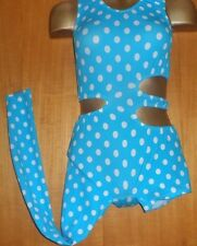TURQUOISE/WHITE SPOT/DANCE/CATSUIT/24/28 INCH CHEST/COSTUME