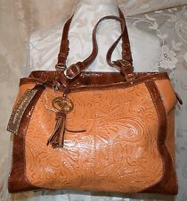 MADI CLAIRE/M.C. CHANTAL GORGEOUS MARTINA HAND TOOLED LEATHER ZIP TOP HANDBAG