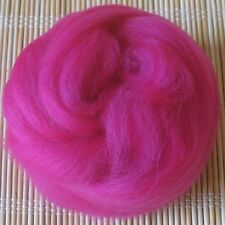 100g Merino Wool Tops 64's Dyed Fibres - Fuchsia - Felt Making and Spinning