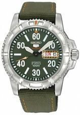 SEIKO SPORTS AUTOMATIC / HAND WINDING 100M ARMY GREEN BAND WATCH SRP215 SRP215K2