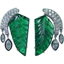 Certified Vintage 12ct Carved Emerald Diamond Dangle Earrings 14K White Gold