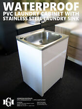 45L Stainless Steel Laundry Tub/Sink with WATERPROOF PVC Soft Close Cabinet