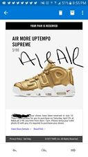 Nike Supreme Air More Uptempo Gold Size 10 Order yeezy boost nmd