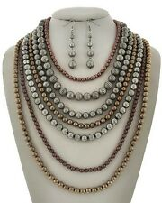 Seven Layers Tri Tone Matal Work Bead Necklace earring Set