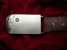 "Belt Buckle SterlingSilver "" ADAM "" ( Belt not included ) ( Silver mate finish )"