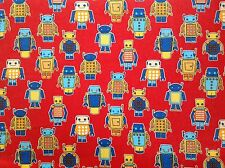 ~ FLANNEL~ Robot ~ Quilting ~ Fabric ~ Flannelette ~ Blue ~ Red ~ Boys~ Baby~ FQ