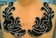 """9"""" MIRROR IMAGE Bead & Sequin Applique METALLIC SILVER & BLACK"""