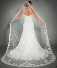 1 Layer Ivory Bridal Cathedral Veil Lace Edge Bridal Wedding Veil With Comb A-7
