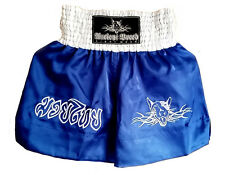 "Muay Thai Shorts with Dog Motif 2 Logos Blue/White XL(33"" - 34"" Waist)FREE Badge"