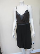 PRADA BLACK BURGUNDY FORMAL CHIFFON DETAILS SPAGETTI TWO SLITS SILK DRESS 40 ITA
