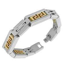Stainless Steel Silver Yellow Gold Two-Tone Greek Key Link Chain Mens Bracelet