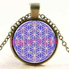 Vintage Flower of Life Cabochon bronze Glass Chain Pendant Necklace #1591