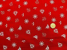 Seaside Nautical Icons white on dark red fabric 1 metre 100% Cotton CTS201-03