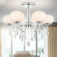 Modern Elegant Crystal Chandelier Ceiling Fixture Lighting 6-Light Pendant Lamp