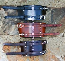 2 Belt Wrap Leather Wrist Bracers Arm Armor SCA LARP punk Ren cowboy biker cuff